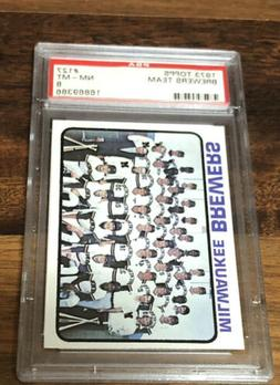 1973 TOPPS MILWAUKEE BREWERS TEAM  PSA 8 GRADED BASEBALL CAR