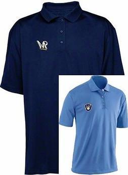2 Milwaukee Brewers MLB Majestic Dri Fit Polo Golf Shirts Bi