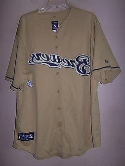 6883 Men's XL BREWERS Gold Baseball Button Jersey Majestic M