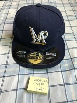7 1/4 Milwaukee Brewers Cap Hat New Era 59Fifty Fitted No Fl