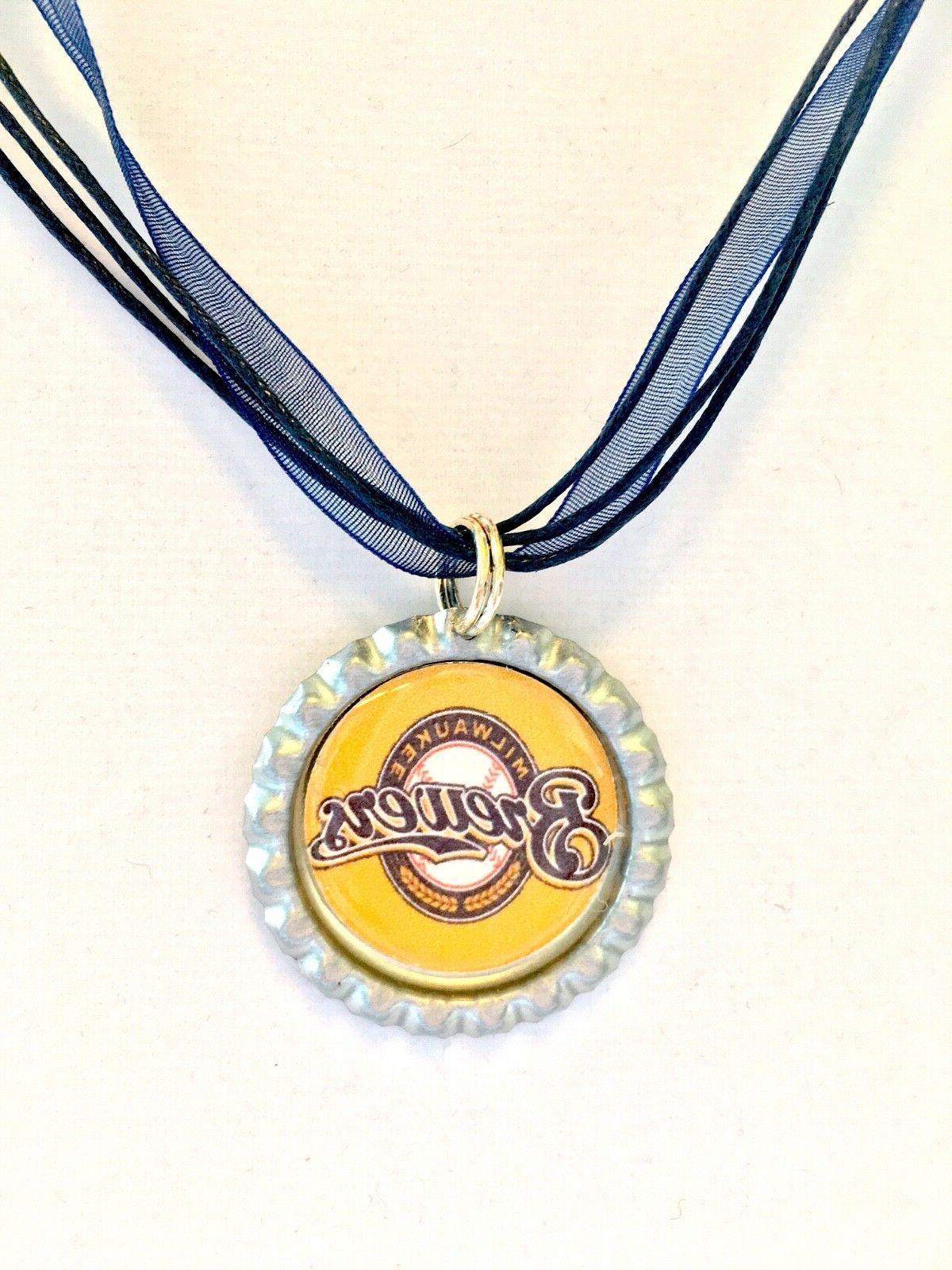 baseball fans milwaukee brewers baseball necklace