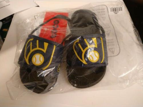 infants child mlb milwaukee brewers slippers black
