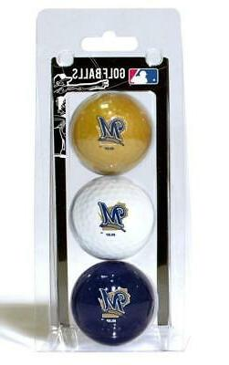 Milwaukee Brewers 3 Pack Golf Balls  MLB White Golfing Pk Ba