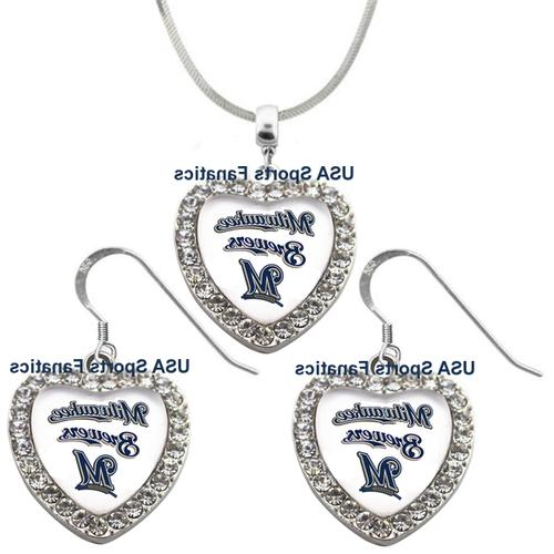 milwaukee brewers 925 necklace earrings or set