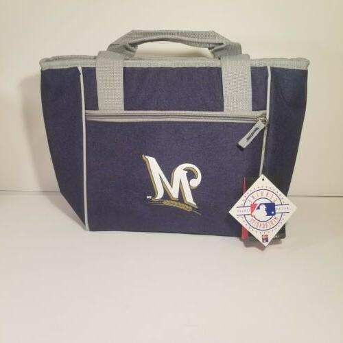 milwaukee brewers crosshatch 16 can cooler tote