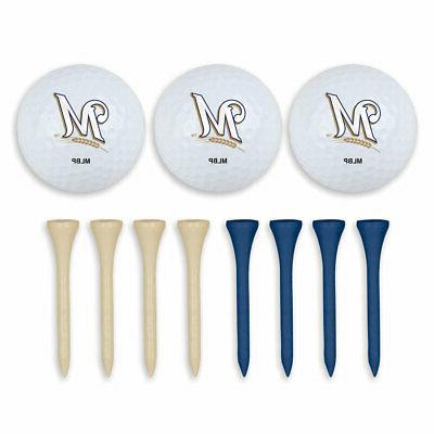 milwaukee brewers golf ball and tee set