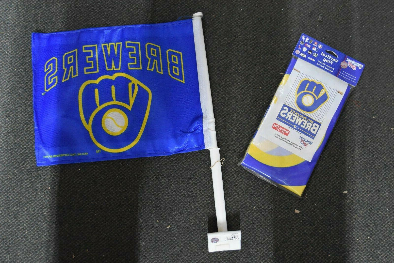 milwaukee brewers large flag and car flag