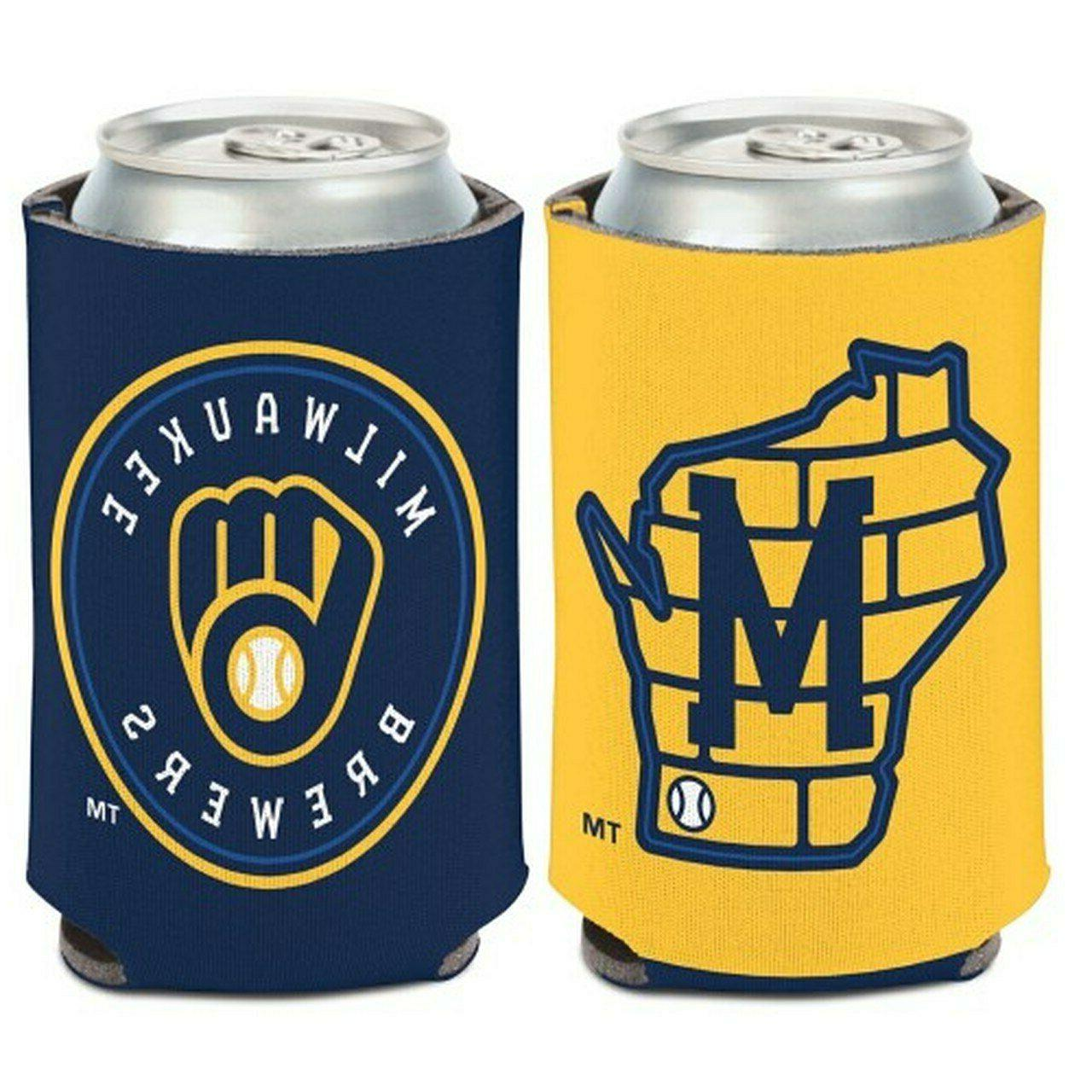 milwaukee brewers logo can cooler 12oz collapsible