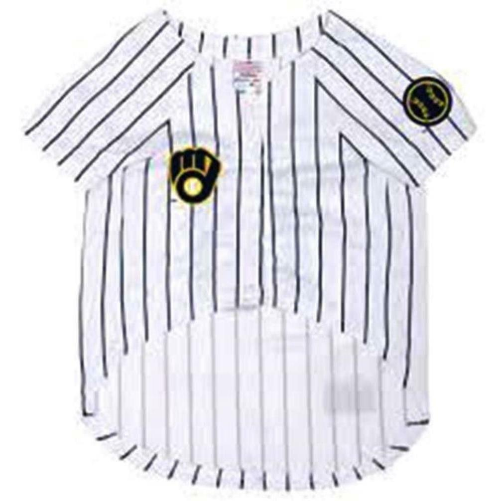 Milwaukee Brewers Pet White; Fits Neck Size 12 1/2 In