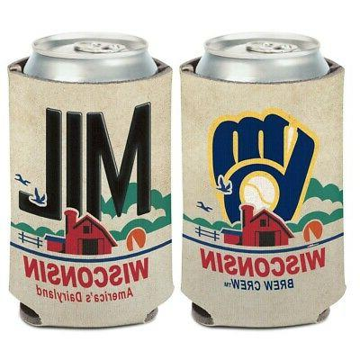 milwaukee brewers state plate 12oz can cooler