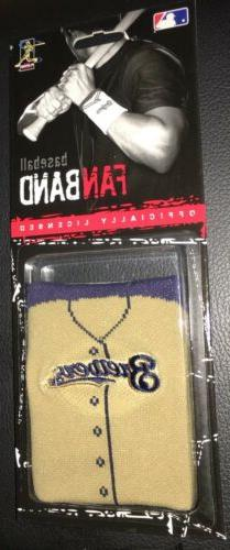 Milwaukee Brewers Team Embroidered Logo Jersey Wristband Fan