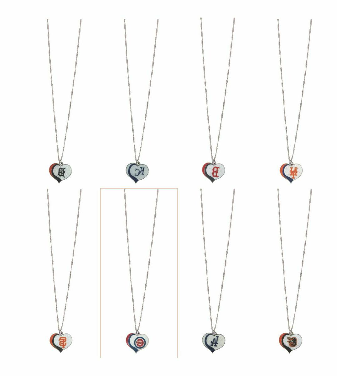 mlb glitter heart necklace pick your team