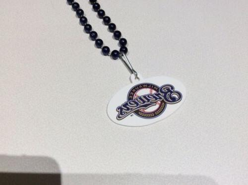 MLB Milwaukee Brewers Beaded Necklace! Approx. length
