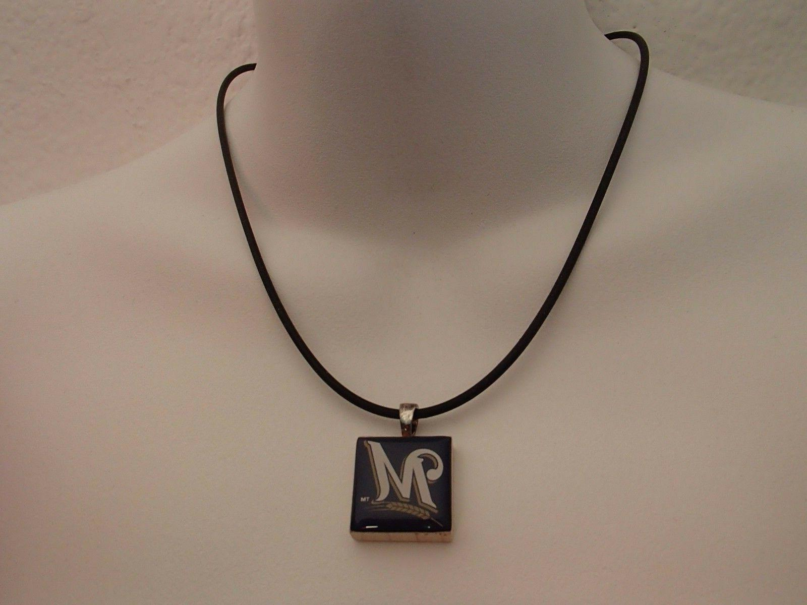 mlb milwaukee brewers necklace blue tile