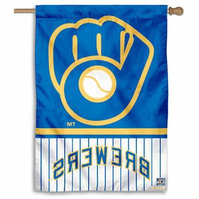 mlb milwaukee brewers pinstripes glove house flag