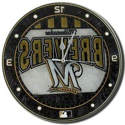 """Milwaukee Brewers 12"""" Art-Glass Wall Clock"""