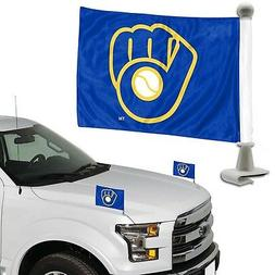 Milwaukee Brewers 2-Pack Ambassador Style Auto Flag Car Bann