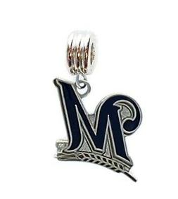 MILWAUKEE BREWERS BASEBALL CHARM PENDANT SLIDE FOR NECKLACE