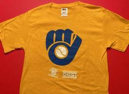 MILWAUKEE BREWERS Baseball Retro Yellow Shirt Mens Small Vin