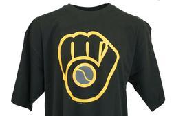 Milwaukee Brewers Black & Gold MLB Majestic Logo T-Shirt, Me