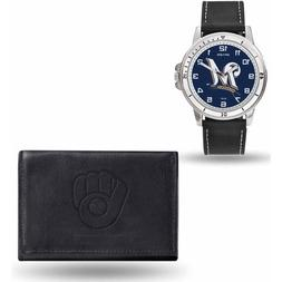 Milwaukee Brewers Black Watch and Wallet Gift Set