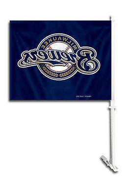 Milwaukee Brewers Car Flag with Pole  MLB Auto Truck Tailgat