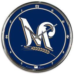 Milwaukee Brewers Chrome Round Wall Clock  MLB Sign Banner O