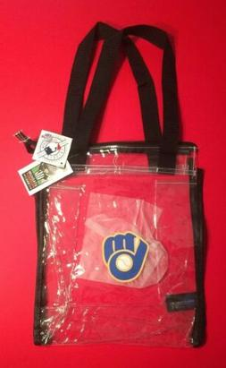 MILWAUKEE BREWERS Clear Plastic Stadium Friendly Bag Tote ML