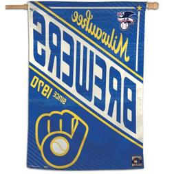 """MILWAUKEE BREWERS COOPERSTOWN COLLECTION 28""""X40"""" BANNER FLAG"""