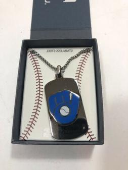"""MLB Milwaukee Brewers Dog Tag Logo Pendant 22"""" Chain Stainle"""