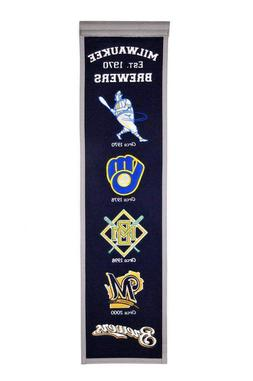 """MILWAUKEE BREWERS EMBROIDERED WOOL HERITAGE BANNER 8""""X32"""" ML"""
