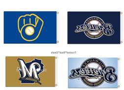 Milwaukee Brewers Flag Polyester 3x5ft Mancave MLB Baseball