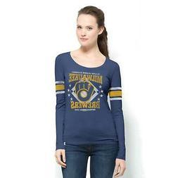 Milwaukee Brewers Homerun Women's Blue Long Sleeve Scoop Shi