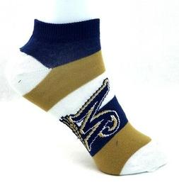 Milwaukee Brewers Ladies Pro Stripe Ankle Socks Navy Gold Wh