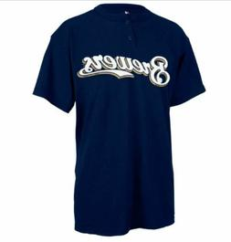 MILWAUKEE BREWERS MLB MAJESTIC 2 BUTTON REPLICA JERSEY