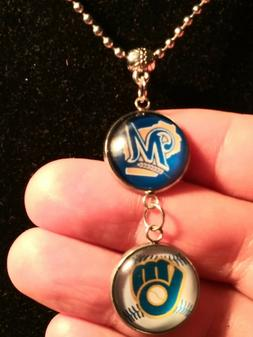 milwaukee brewers mlb 24 necklace with double