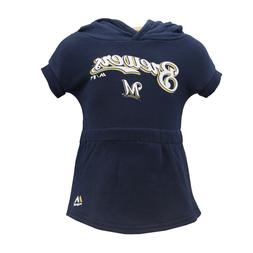 Milwaukee Brewers MLB Majestic Baby Infant Hooded Dress-Styl
