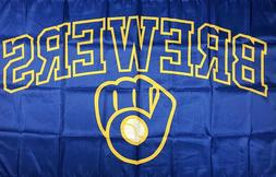 Milwaukee Brewers MLB Flag 3x5 ft Sports Blue Retro Banner M