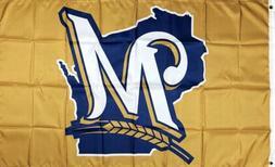 Milwaukee Brewers MLB Gold Flag 3x5 ft Sports Baseball Banne