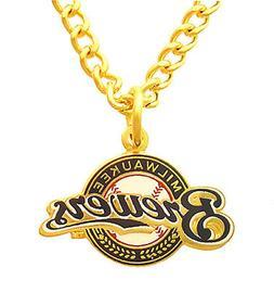Milwaukee Brewers MLB Peter David Golden Necklace & Pendant
