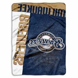 Milwaukee Brewers MLB Logo Strike Raschel 60x80 Twin Size Th