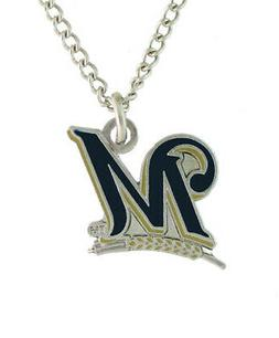Milwaukee Brewers MLB Aminco Silver Tone Necklace & Pendant