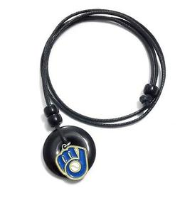 MILWAUKEE BREWERS PENDANT ONYX CORD NECKLACE 21315 new baseb