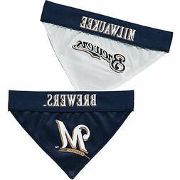 Milwaukee Brewers Reversible Bandana Pet Collar - Navy/White