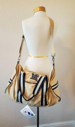 Milwaukee Brewers Tan Duffle Bag Medium Mens MLB Baseball- N