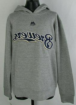 Milwaukee Brewers Youth Boys Majestic Gray Pullover Hoodie M