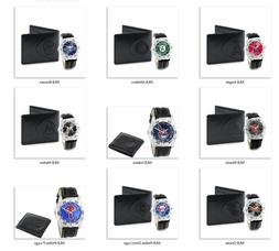 MLB Men's Watch and Black Leather Wallet Set by Game Time -S