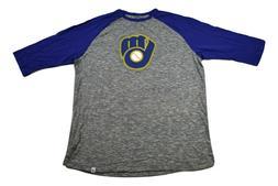 Majestic MLB Mens Milwaukee Brewers Baseball Shirt New L, XL