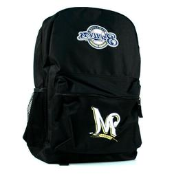mlb milwaukee brewers black backpack
