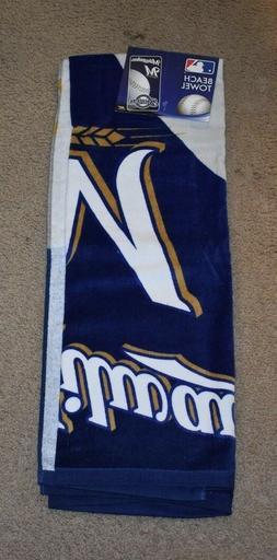 MLB Milwaukee Brewers Emblem Beach Towel, 28 x 58-Inch